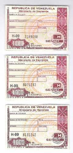 Timbres Fiscales De  Bolívares Serie Sin Letra