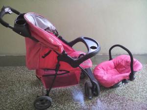 Coche Y Porta Bebe Marca Infanti, Rosado, Niña, Usado