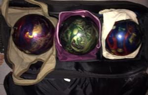 Bolas De Bowling Con Bolso Y Zapatos Usados