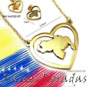 Cadena Y Zarcillos De Venezuela En Acero Juego Set