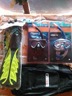 Kit De Buceo Snorkel Chapaletas Y Bolso