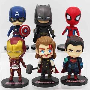 Set 6 Figura Super Heroes Marvel Y Dc 10 Cm Coleccion