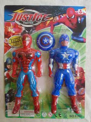 Spiderman Y Capitan America Set De Figuras Marvel Juguete