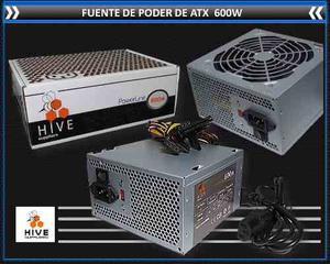 Fuente De Poder Atx 600w Hive  Pines Conector Sata