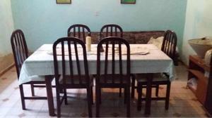 Mesa Comedor De Madera Con 6 Sillas Y Vitrina-ceibo