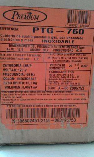 Tope De Cocina Premium 60 Cm A Gas Acero Inoxidable De 4 Pue
