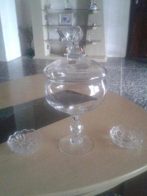 Bombonera De Cristal De Bohemia Mas Dos Ceniceros