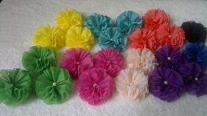 Flores De Tela Pompon, Cintillos, Lazos, Tocados Al Mayor