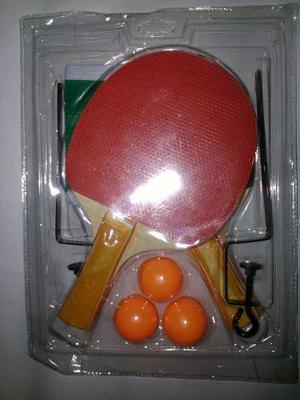 Juego De 2 Raquetas De Ping Pong O Tenis Mesa Malla Y Pelota