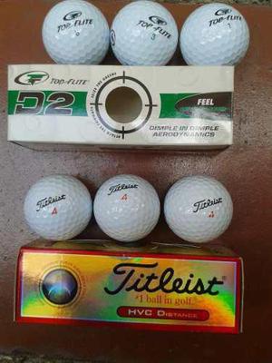 2 Cajas Con 6 Pelotas De Golf Nuevas Top-flite Y Fitleist