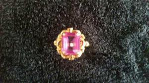 Anillo De Oro 18kte. Con Piedra Rosa De Francia
