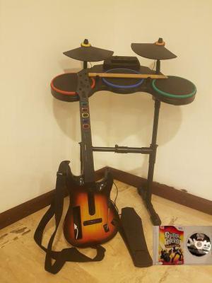 Bateria + Baquetas + Guitarra + Juego Originales Para Wii