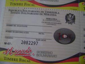 Timbres Fiscales Miranda 1 Ut