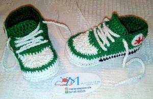 Zapatos Para Bebes Tejidos A Crochet Converse Deportivos