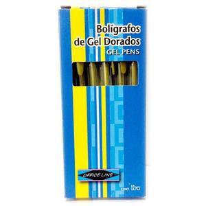 Boligrafos De Gel Dorados Marca Office Line, Incluye Iva
