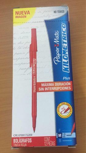 Boligrafos Paper Mate Kilométrico Color Rojo