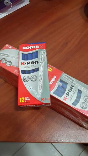 Caja De Boligrafos Kores K-pen K1-0 Azul (12 Unidades)