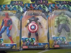 Set 3 Muñecos Vengadores Spiderman Capitan Hulk Oferta