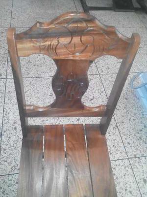 Juego De Comedor De 6 Sillas, De Madera Decorada Con Vidrio