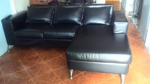 Muebles En L Cuero Negro 2 Piezas