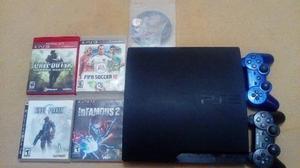 Playstation 3 Slim De 160gb (2 Controles Y 5 Juegos)