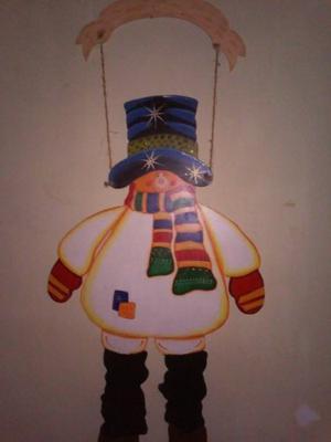 Muñeco De Nieve De Navidad En Mdf