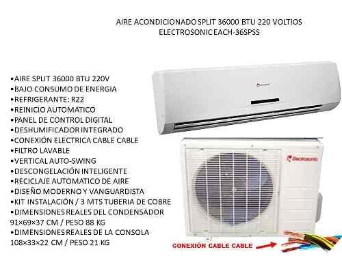 Aire Acondicionado Split  Btu Electrosonic Each-36spss