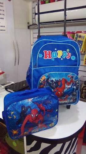Maleta Escolar Grande Spiderman + Lonchera Termica