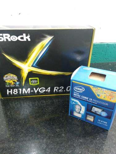 Tarjeta Madre Asrock H81m-vg4 Con Cpu I3 4160 3.6ghz