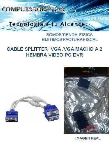Cable Splitter Vga /vga Macho A 2 Hembra Video Pc Dvr