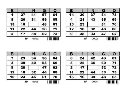 Cartones De Bingo Para Imprimir -  Pdf