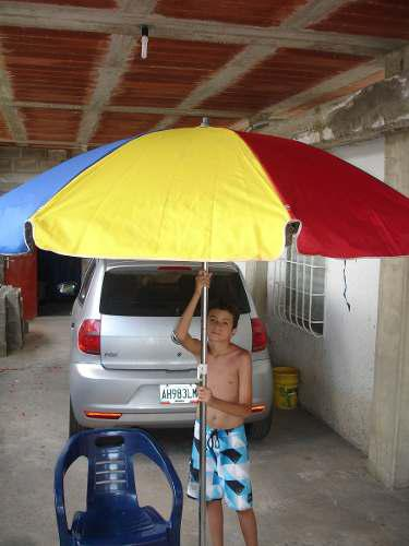 Paraguas Sombrillas Doble Varilla, Ejes De Bronce Y Lona