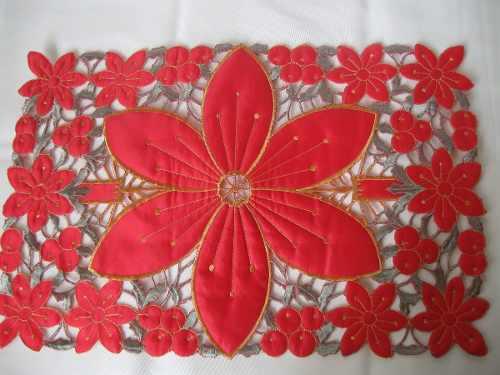Tapete Ajt07500 Rojo De Navidad Bordado Redondo 12(30cm)