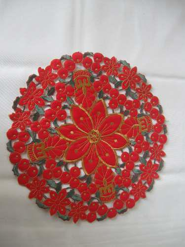Tapete Ajt08020 Navidad Bordado Rojo Redondo 12 (30cm)