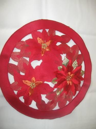 Tapete Hy118007a Navidad Bordado Rojo Redondo 12 (30cm)