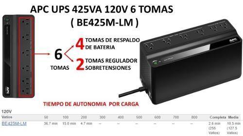 Ups Apc Be425m 425va 6 Tomas Backups Voltaje Nuevo Bagc