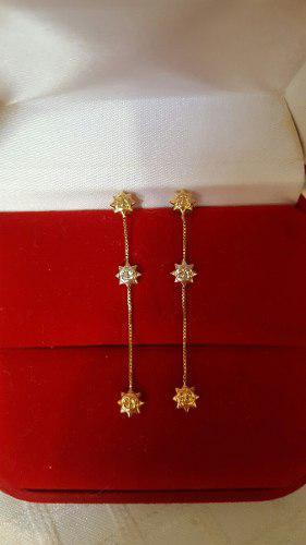 Zarcillos De Soles En Cartier De Oro 18 K