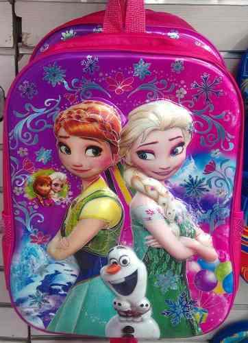 Bolso Morral Escolar Frozen Alto Relieve 3d + Obsequio