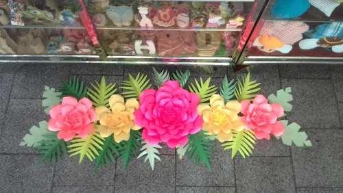Combo Flores De Papel Cartulina Set Fiesta Decoracion