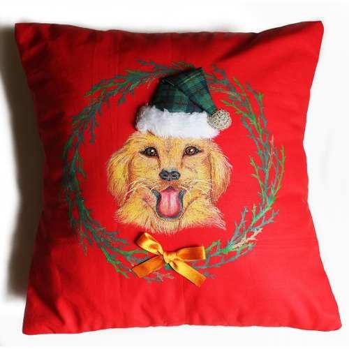 Funda Para Cojín De Navidad - Modelo Perro. Pintado A Mano
