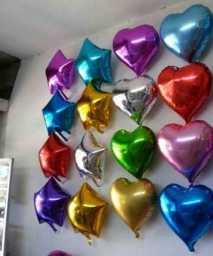 Globos De Estrellas Y Corazones Metalizados 24 Cm