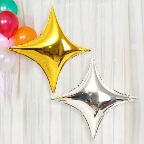 Globos Estrellas Destello 4 Puntas Metalizados 18 Pulgadas