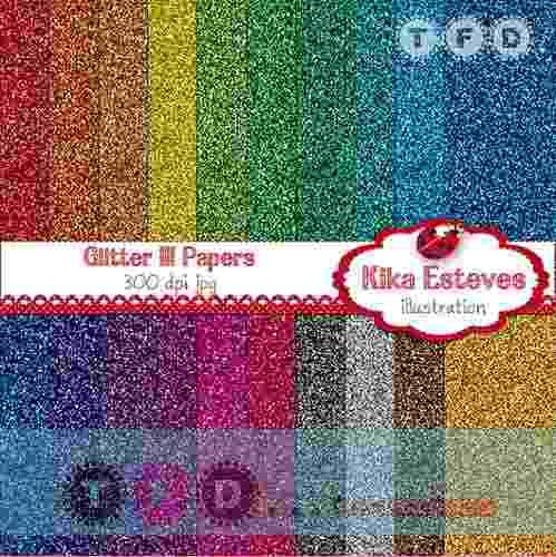 Kit Imprimible Fondos Brillantes Glitter Color Metalizados