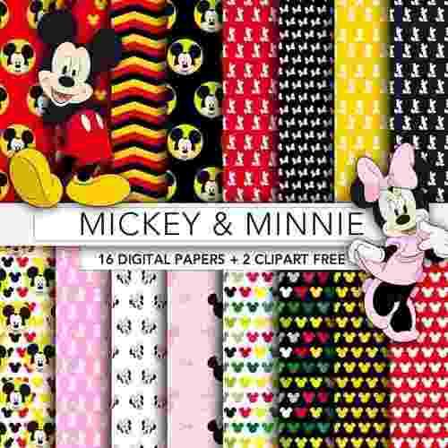 Kit Imprimible Fondos Mickey Minnie Papel Digital Clipart