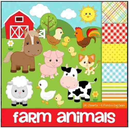 Kit Imprimible Pack Animalitos De La Granja Clipart + Fondos