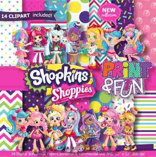 Kit Imprimible Shopkins Pack Fondos Cliparts Shoppies Imagen