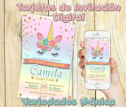 Tarjeta De Invitacion Unicornio Digital Unicornios Posot Class