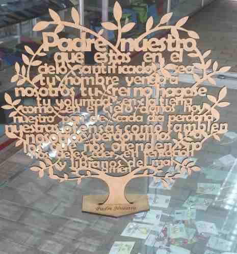Árbol Oración Padre Nuestro En Mdf 18 Cm De Altura