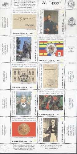 Bicentenario De Dr. José María Vargas Hoja 10 Estampillas