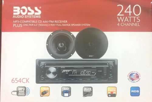 Combo Reproductor Boss Con Cornetas 240 Watts 4 Canales